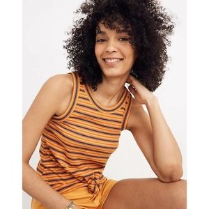 Madewell Audio Knot-Front Tank Top in Stripe